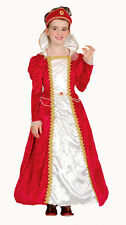 Girls Red White Christmas Medieval Tudor Princess Dress Costume Outfit New 6-8