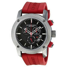 Burberry Sport Endurance Chronograph Black Dial Red Rubber Men's Watch BU7706