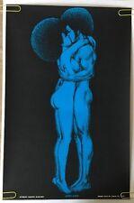 Afro Love Houston Blacklight Vintage Poster Hair Psychedelic 1971 Original Kiss