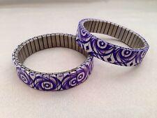 Purple White Swirl Silver Metal Base Stretch Bracelet 13EB151