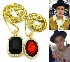 MENS ICED OUT HIP HOP GOLD RED RUBY & BLACK ONYX PENDANT BOX CHAIN NECKLACE SET