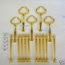 5 x 3 tier Cake Stand Fitting HEAVY GOLD CLOVER Handle Wedding High Tea Hardware