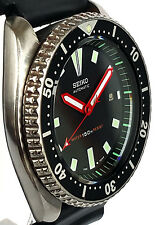 Vintage mens watch SEIKO diver 7002 mod w/all Red BAYONET & Stealth SS hand set!