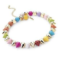Multi Colour Stud Spike Choker Necklace Punk Jewellery