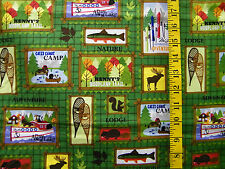 M'LISS MY PETS NORTH WOODS PATCH DOGS & CAT 100% COTTON FABRIC BY THE 1/2 YARD