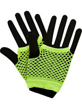 Neon Yellow Hot Colours Short Fish Net Fingerless Gloves 80's Party Wear Goth