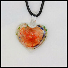 Fashion Women's heart lampwork Murano art glass beaded pendant necklace #A29