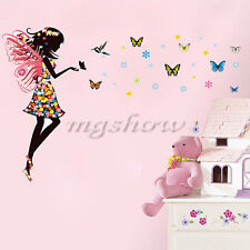 Angel Fairy Girl Butterfly Wall Sticker Decal DIY Kids Nursery Decor Mural Room