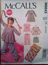 McCalls Sewing Pattern 6643 Easy Pajamas Gown Pants Bottoms Sleeping Bag M L XL