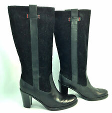 beautiful TOMMY HILFIGER black leather & corduroy knee hi fashion boots 6