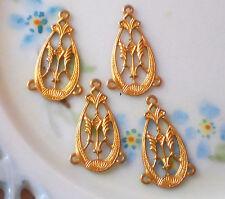#1473K Vintage Filigree Connectors Victorian Art Nouveau ORNATE antique Gold NOS