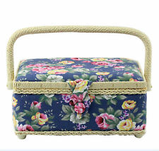 Blue Wicker Rose Floral Sewing Box Basket With Lift Out Tray LP27428