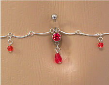 """14g 7/16"""" Red Jewel with Teardrop Dangle Belly Button Ring with Belly Chain"""