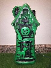 "Vintage 16 1/2"" Green Halloween Bayshore Haunted House Blow Mold Decoration"