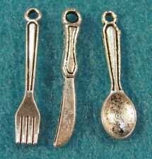 30Pcs. Tibetan Silver FORK-KNIFE-SPOON Silverware Set Charms Pendants PR09
