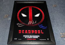 "DEADPOOL CASTX3 PP SIGNED FRAMED A4 12""X8"" PHOTO POSTER RYAN REYNOLDS"