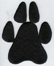 Iron On Embroidered Applique Patch Large Black Animal Dog Paw Print