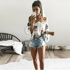 UK Womens Floral Tops Blouse Off Shoulder Loose Beach Ladies Casual T Shirt Top