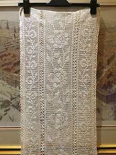 """Vintage 1940's Lace Art Deco Hand Crochet Floral Design 1 Yard 28 X 15"""" White"""
