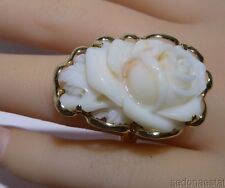 Hawaiian Jewelry Hand Carved Pink Coral Rose Shape 14k Y Solid Gold Ring