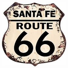 BP-0030 SANTA FE ROUTE 66 Shield Rustic Chic Sign Bar Store Shop Home Decor