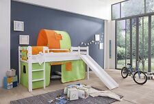 Tony Loft bed Kid's bed with Slide Tunnel Lattenrolrost + 8 pieces Spring White