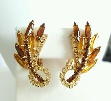 Amber Brown Clear Rhinestone High End Earrings Clip On Backs Goldtone Unsigned