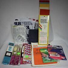 Vintage Sewing Notion Lot Iron-On Letters Trim Poly Web Dritz Tracing Paper Sew