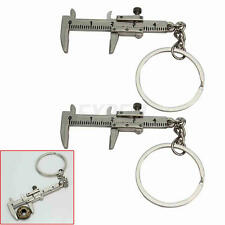 2x Mini Calibro Tascabile Portatile Portachiavi Lega Argento Strumento Keyring