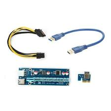 USB 3.0 PCI-E Express 1x To16x Extender Riser Card Adapter 6PIN Power Cable 30CM