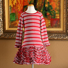 LEMON LOVES LIME Girls STRIPED Ruffle Dress Size 5  NWOT