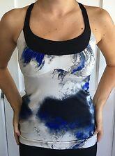 Lululemon Size 4 Scoop Me Up Tank Top Bra Blue Black Gray EUC Milky Way Adjust