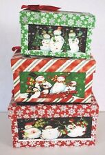 Christmas Holiday Gift Boxes Snowman Themed Set of 3 Rectangle Shape Green Red