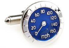 Speedometer Blue Cufflinks Nascar MPH Wedding Fancy Gift Box Free Ship USA