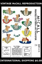 10 VICTORIAN COLLARS & CUFFS Fabric Sewing Pattern 1940s Vintage McCALL #839 40s
