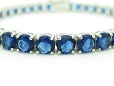 Platinum Sterling Silver Diamond Set Blue Sapphire 5mm Wide Tennis Bracelet Gift