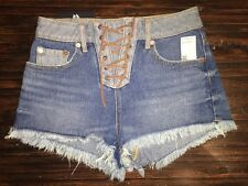 NEW House Of Harlow High Rise Lace Up Tacked hem Denim Jeans Shorts 25 0 XS