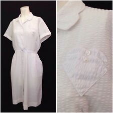 Vintage 1950s White Semi Sheer Heart Pocket Button Up Novelty Dress S