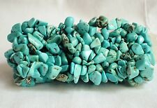 Turquoise Crystal Blue Stretch Cuff Bracelet~Natural Stones~New Pagan Jewellery