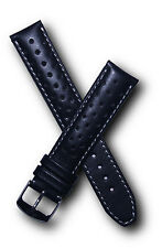 19 mm black/white leather watchband with pin buckle to fit Heuer Carrera models