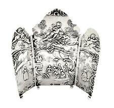 "UNUSUAL ANTIQUE STERLING SILVER 4"" TRIPTYCH / SCENE - 1901 - CHERUB SCENES"
