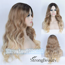 Ombre Wig long wavy Fashion Wig blonde with dark root TOP quality hair wigs