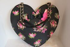 Betsey Johnson Heart To Handle Heart Shaped Tote  Black Forals Rare BJ53800 NWT