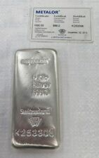 Metalor 1kg 999.0 fine argento bar-metalor certificato UK -