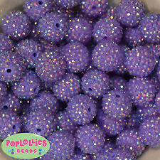 20mm Lavender Rhinestone Bubblegum Beads 20 pc Chunky Gumball Jewelry