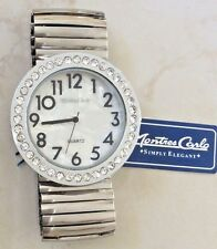 MONTRES CARLO SILVER TONE WOMEN'S WATCH EASY READ CRYSTAL MOP DIAL STRETCH BAND!
