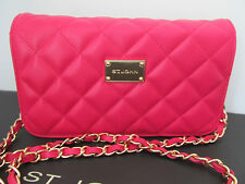 NEW ST JOHN KNIT WOMENS PINK RASPBERRY QUILTED LEATHER  LOGO SHOULDER BAG