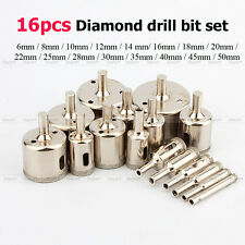 16pcs 6mm-50mm Diamond Coated marble Ceramic Tile Hole Saw Drill Bits set tool