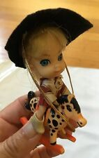 Complete Vintage Liddle Kiddles Cowgirl Calamity Jiddle Jane Horse Little Doll