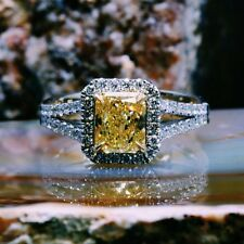 2.04 Ct. Natural Diamond Halo Pave Fancy Intense Yellow Diamond Engagement Ring